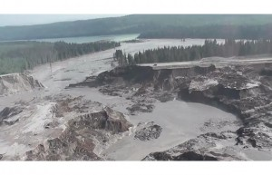 The tailings pond dam breach at the Mount Polley mine released an estimated 10 million cubic metres of water and 4.5 million cubic metres of fine sand into Polley Lake. Here's a look from the air. Photograph by: Screen grab, Cariboo Regional District, YouTube