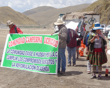 Local residents protest Hudbay's Peruvian Constancia mine. Source: Human Rights Without Borders